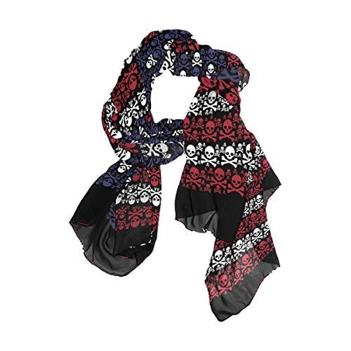 Rootti - Bufanda de gasa para mujer, diseño de bandera de los Estados Unidos, elegante, suave, de poliéster transparente, de gran tamaño, para niñas y mujeres