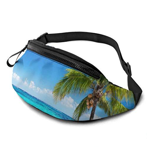 JOCHUAN Fanny Pack Waist Ocean Beach avec Coconut Palm Tree on Blue Sky Waist Pack Zipper with Jack pour Casque et Bretelles réglables Fanny Pack for Women for Travel Sports Randonnée