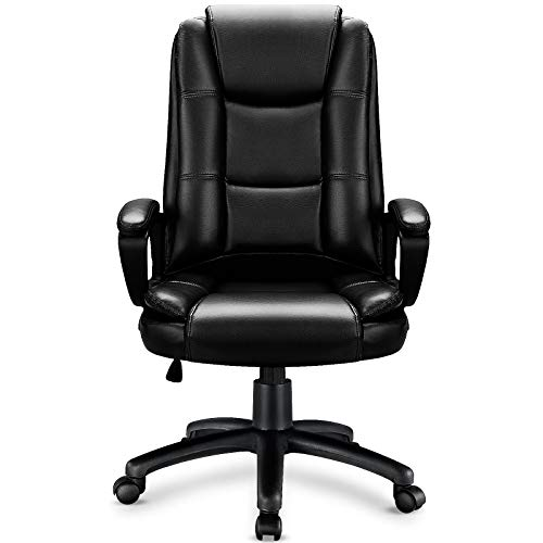 OFIKA Home Office Chair, Ergonomic Desk Chair, Adjustable Task Chair for Lumbar Back Support, Computer Chair with Rolling Swivel and Armrest, Modern Executive High Back Leather Chairs (Black)