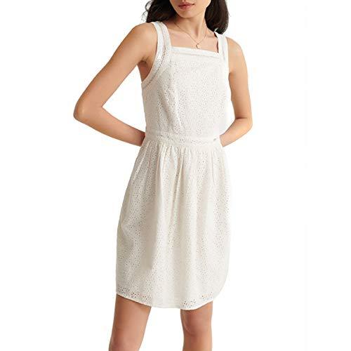 Superdry Damen Blaire Broderie Dress Kleid, Elfenbein (Chalk White FU4), S (Herstellergröße:10)