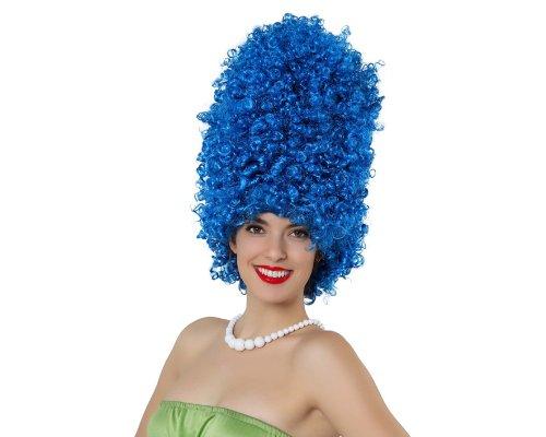 Perruque Haute Afro Bleue - Bleu, Adulte : Standard - Taille Unique