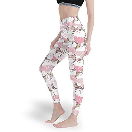 Mädchen Bequem Leggings Hohe Taille Yoga Hosen Dehnbar Capris Tights für Workoutcats White XL