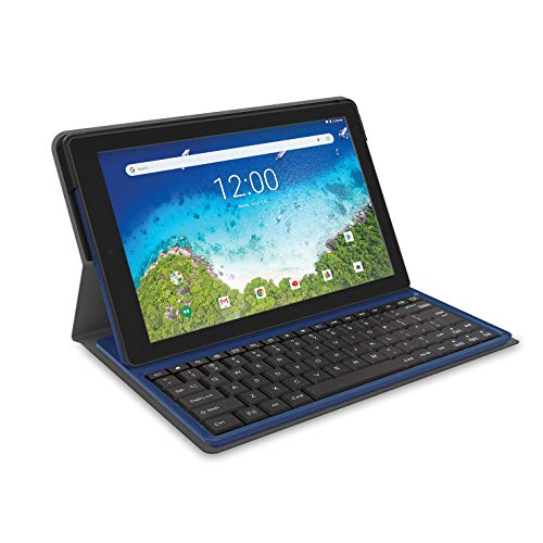 "2018 RCA Viking Pro 2-in-1 10.1"" Touchscreen High Performance Tablet Laptop PC, Intel Quad-Core Processor, 1G RAM, 32GB HDD, Detachable Keyboard, Webcam, Android 5.0 Lollipop, Blue"