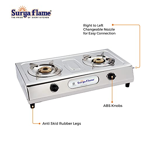 Suryaflame Gas Stove 2 Burners Stainless Steel 2B ULTIMATE SS NA (ISI Marked, CE Certified) and Doorstep Service - Silver