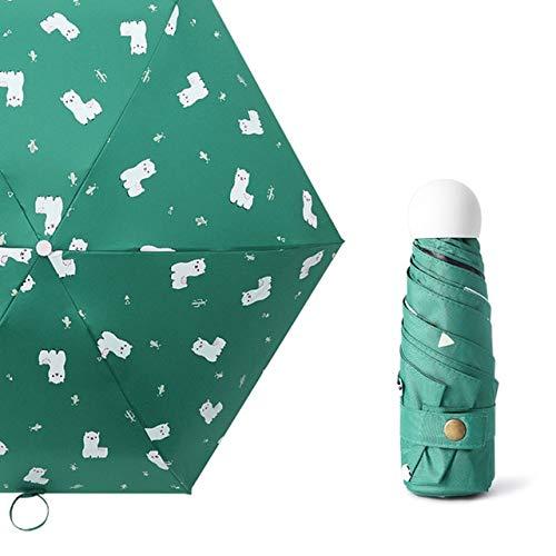 New CartoonLight Mini Umbrella Rainy Five Pocket Foldable Mini Umbrella Women Men UV Protection Waterproof Umbrella- green