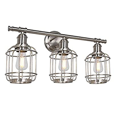 Hykolity 3-Light Bathroom Light Fixtures, Industrial Metal Wire Cage Vanity Light, LED Edison Bulbs Included, Farmhouse Vintage Wall Sconce for Headboard Bedroom Garage Porch Mirror, ETL Listed