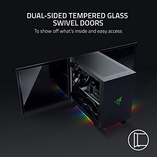 Razer Tomahawk Mini-ITX Gaming Chassis: Dual-Sided Tempered Glass Swivel Doors, Ventilated Top Panel, Chroma RGB Underglow Lighting, Built-In Cable Management, Classic Black