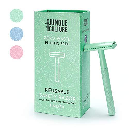 Jungle Culture® Rasierhobel Damen & Herren | Umweltfreundlicher Nassrasierer für Frauen | Einzelklingen Metall Rasierer für Körper & Gesicht | Beauty Geschenk & Reisetasche | Zero Waste Safety Razor