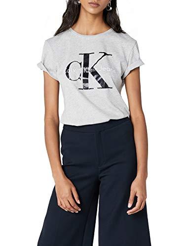 Calvin Klein Jeans Damen SHRUNKEN TEE TRUE ICON T-Shirt, Grau (Light Grey Heather 038), X-Large
