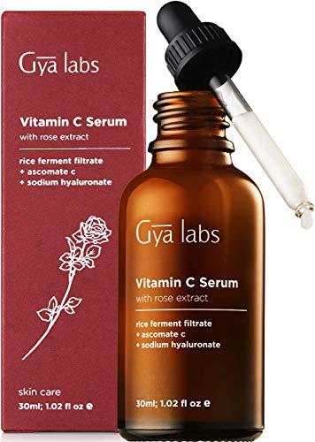 Gya Labs Vitamin C Serum For Face - Hyaluronic Acid & Rose For Radiant, Glowing Skin - Brightening Serum For Dark Spots, Hyperpigmentation - Face Moisturizer For Dull Skin, Wrinkles, Fine Lines -30 ml