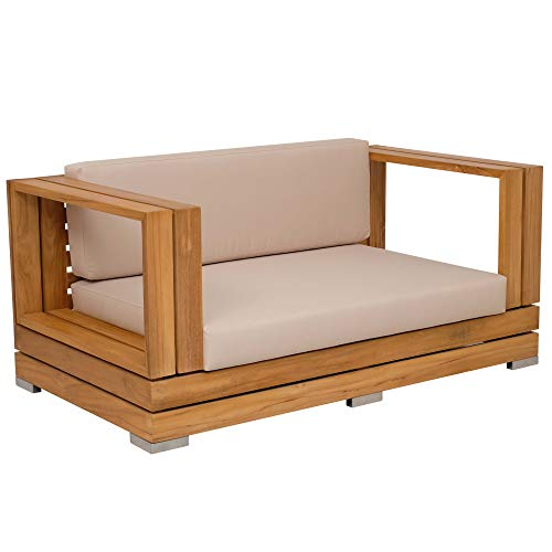 Teako Design - Sofá de exterior Córcega de 2 plazas, madera de teca, acero inoxidable, madera maciza, resistente a la intemperie