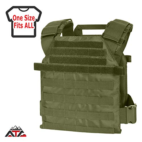 "WarTechGears Tactical Fast Vest 11""X14"" MOLLE and PALS Fully Adjustable Law Enforcement (Green)"
