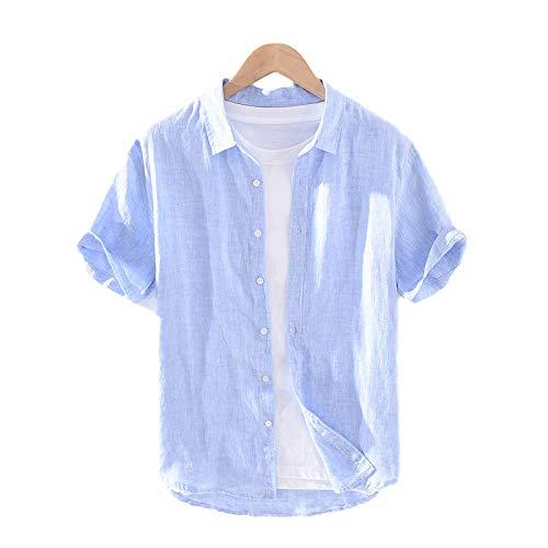 Camisa básica de Manga Corta para Hombre Camisa de Verano con Botones Finos y Solapa Color sólido Camisa cómoda Informal y versátil XL