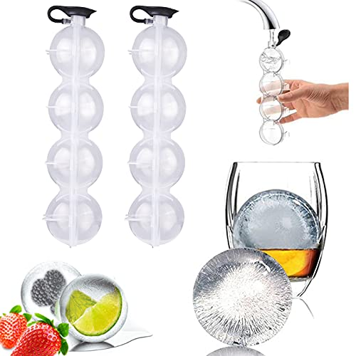 HUIHUIBI 2PCS Whiskey Diy Mould, 4-Hole Whiskey Round Ice Ball Mold 2.2 Inch Ice Ball Maker for Whiskey and Cocktails, Keep Drinks Chilled