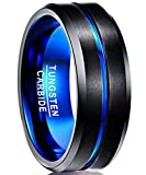 NUNCAD Mens Black Matte Finish Tungsten Carbide Ring Beveled Edge Wedding Band Size M½