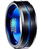 NUNCAD Largeur extérieure de 8 mm de Bague en carbure de tungstène,Surface polie avec rainure Bleue pour Hommes Taille 56