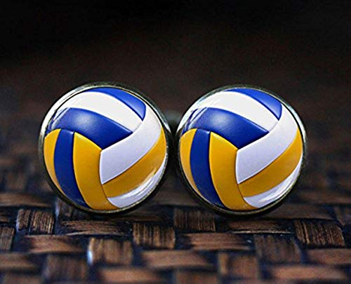 Boutons de manchette en forme de ballon de volley-ball Chen Jian Xin - Pour homme - Cadeau pour joueur de volley-ball/sportif