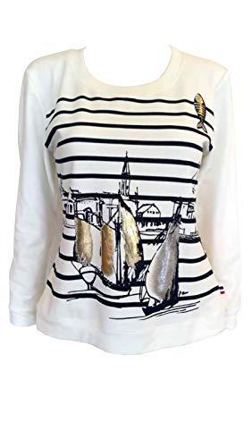 Alex(e) Sweat Shirt Femme Manches Longues Blanc Cassé Mode été Chic Made in France Imprimé Voilier (L)