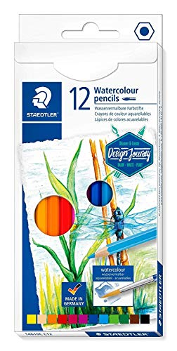 Staedtler Premium Watercolor Pencils, Pre-sharpened, Art Set of 12 Colors, 14610C C12