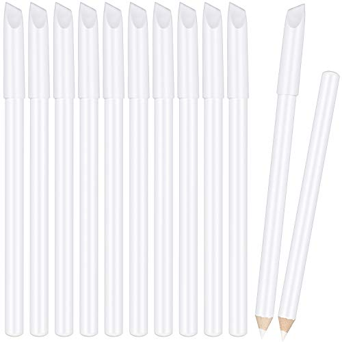 White Nail Pencil 2-in-1 Nail Whitening Pencils French Nail Art Pencils with Cuticle Pusher for DIY Nail Art Manicure Supplies (12 Pieces)