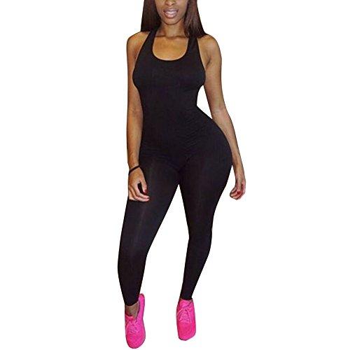 Women's Basic Sleeveless Tank Jumpsuit Bodycon Long Pants (L, Black)