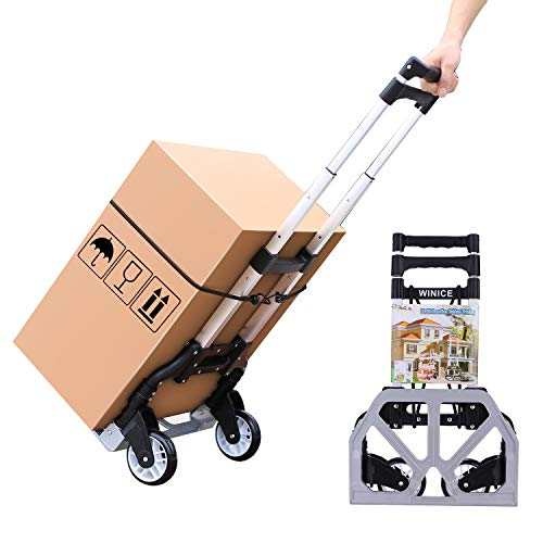 Devo Folding Hand Truck Dolly,Heavy-Duty Luggage Cart with Telescoping Handle,165 LB Load Capacity,2-Wheel Cart for Moving and Office Use