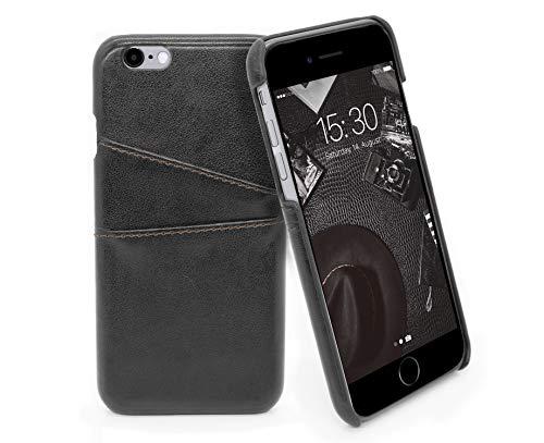 MyGadget Funda Back Case en Cuero PU con Tarjetero para Apple iPhone 6 / 6s - Carcasa Portatarjetas en Piel Sintética con Bolsillo [2 Ranuras] - Negro