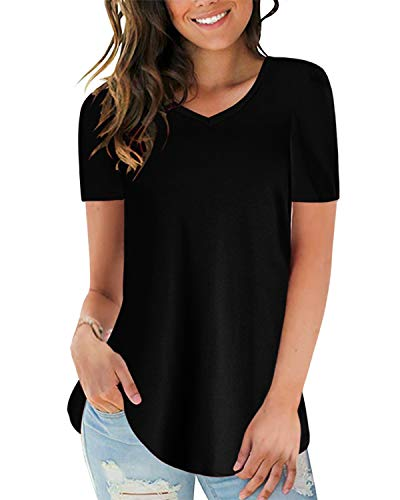 CNFIO Maglia Donna Manica Corta Maglietta Tinta Unita T-Shirt Eleganti V-Collo Casual Camicetta E-Nero M