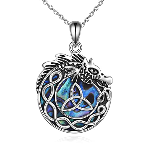 VENACOLY Viking Dragon Necklace 925 Sterling Silver Triangle Celtic Knot Pendant Abalone Shell Jewelry Gifts for Women Men