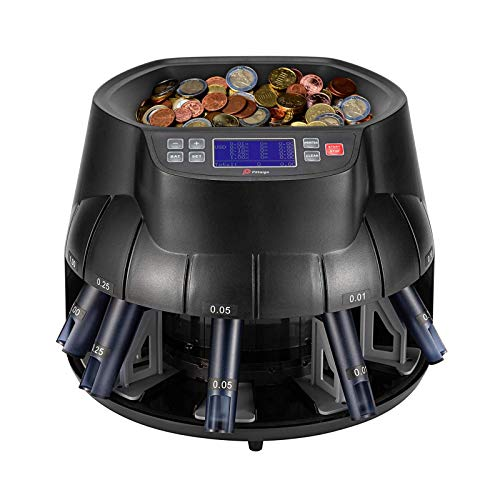 Pittaigo USD Coin Counter Sorter and Roller, Professional Electronic Coin Counter Machine 315-345 Coins/Min with LCD Display, Countable Coins 1¢, 5¢, 10¢, 25¢ and Dollar Coins