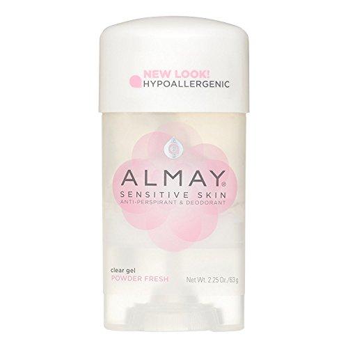 Almay Sensitive Skin Clear Gel Antiperspirant & Deodorant, Powder Fresh 2.25 oz (Pack of 5)