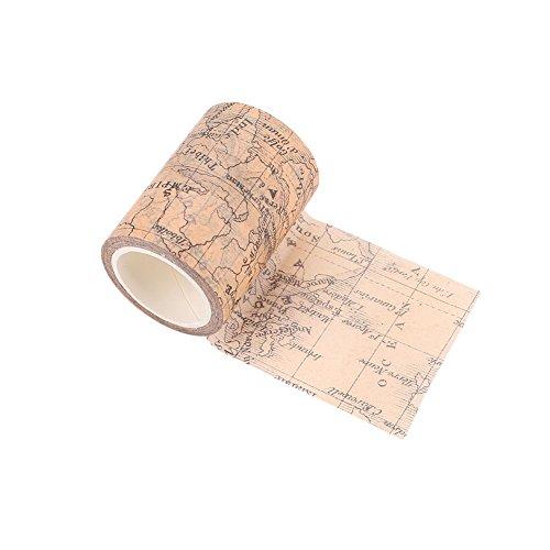 Kicode Vintage gótico Washi Papel Adhesivo Mapa del Mundo Libro de Recuerdos de enmascaramiento Etiqueta de Suministro Pintura Decorativa 60 MM