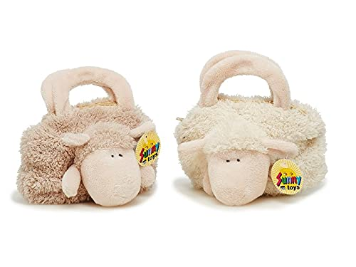 Sunny Toys Peluche – Borsa – pecora – Peluche – Alta qualità, Beige (Color Beige-Rosado), 17x7x14