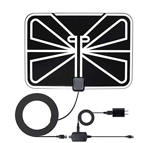 :[2019 Newest] HDTV Antenna,80-120 Mile Range Indoor TV Antenna HD with Omni-Directional 360 Degree Reception for FM/VHF/UHF