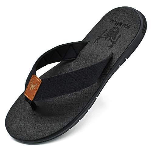 KuaiLu Herren Flip Flops Ultra Leicht Flach Weich Stoff Bade Sandalen Bequeme Gepolstert Badelatschen Yoga Matte Sommer Strand Zehentrenner