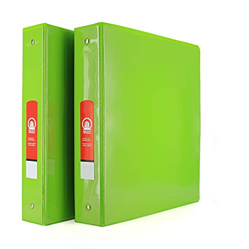 """1 1/2"""" 3-Ring View Binder with 2-Pockets - Available in Lime Green - Great for School, Home, & Office (2-Pack) - by Emraw"""