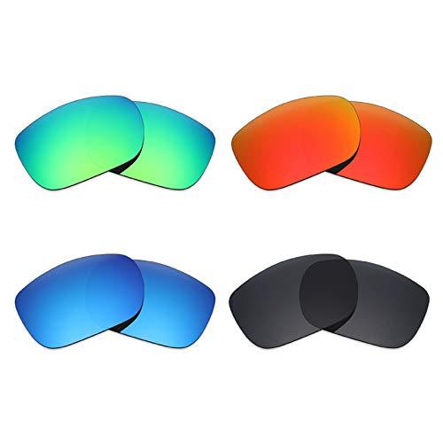 Mryok Lot de 4 paires de verres polarisés de rechange pour lunettes de soleil Oakley TwoFace – Noir furtif / Rouge feu/Bleu glace/Vert émeraude