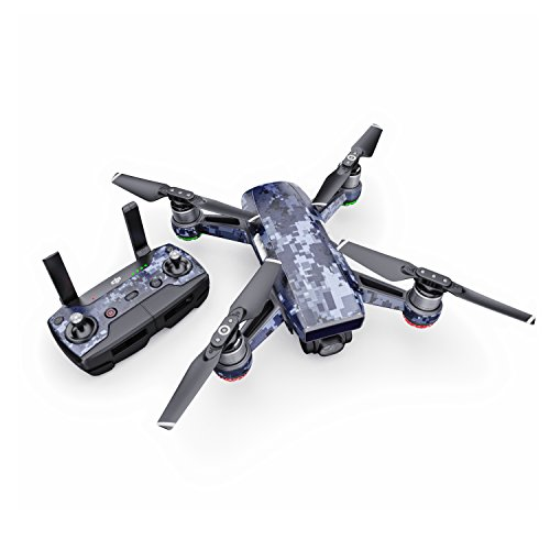 Digital Navy Camo Decal for Drone DJI Spark Kit - Includes Drone Skin, Controller Skin and 1 Battery Skin