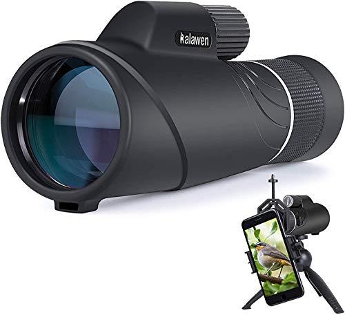 Kalawen Telescopio Monoculare 10-20x50 con Zoom Monocolo Professionale Potente Impermeabile BAK4 Prisma a Tetto Super-FMC Correzione di Fase da Birdwatching Viaggio Adulti Bambini con Accessori