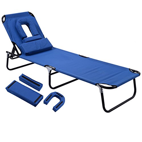 Gymax Beach Chair, Sunbathing Chair Patio Lounge Chair Folding Adjustable Recliner with Hole for Face (Blue)