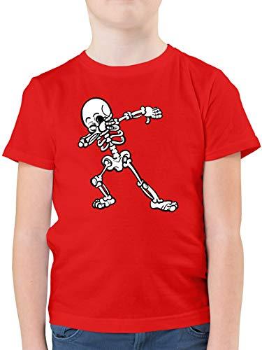 Halloween Kind - Dabbing Skelett - 164 (14/15 Jahre) - Rot - dab t Shirt - F130K - Kinder Tshirts und T-Shirt für Jungen