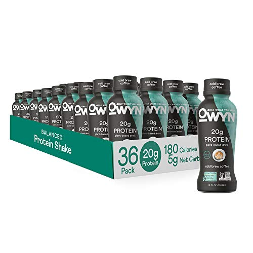 OWYN - 100% Vegan Protein Shakes | Cold Brew Coffee, 12 Fl Oz (Pack of 36) | Dairy-Free, Gluten-Free, Soy-Free, Tree Nut-Free, Egg-Free, Allergy-Free, Plant-Based