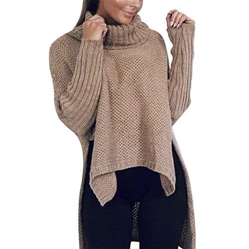 HuaCat Modischer Kuschelig Pulli mit Rollkragen Lässig Pullover Sweater Longshirt Tunika Strickpullover Oversize