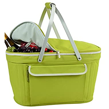 Picnic at Ascot Stylish Insulated Market Basket/Picnic Tote with Sewn in Aluminum Frame - Apple