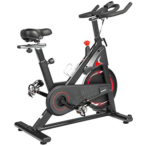ADVENOR Magnetic Resistance Exercise Bike, Indoor Stationary Bikes for Home Workout, Quiet Belt Drive with LCD Monitor, Support up to 330 lbs, Flywheel 35 lbs (black&red) by ADVENOR