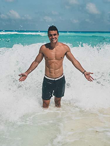 OKAICOS Men's Swim Trunks - Performance Stretch Board Short with Mesh Lining, Drawstring Swimwear Tropical Black, White