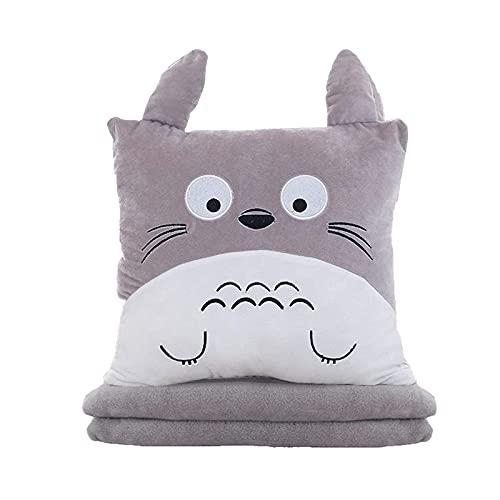 SQX Totoro Peluche de Juguete Animales Rellenos Almohada 3 en 1 Multifunción Totoro Polla de Peluche con Manta Totoro Mano Cojín cálido Bebé Niños Niños Manta Manta Anime Figura Juguete