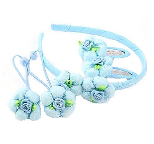 Ensemble de 5 bandes de cheveux pour enfants Beautiful Hairpins and Hair Circle, Blue