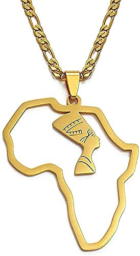 Collar Mapa de África Reina egipcia Collares pendientes Mujeres Hombres Joyería Joyería de color dorado Collar de niñas africanas para niños