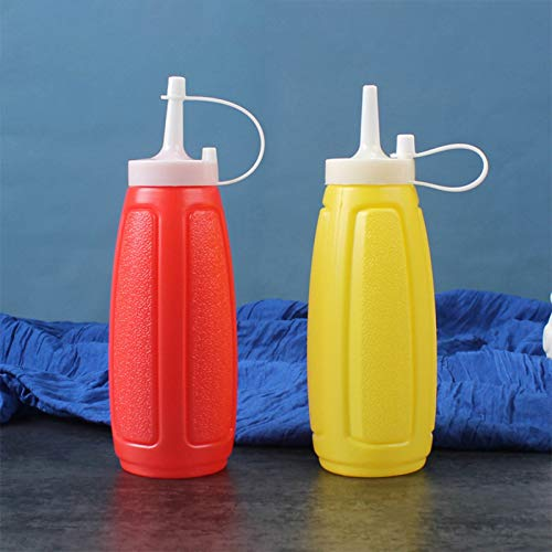 Elibeauty - Botella de plástico con tapa para salsa de tomate, mostaza mayo, aceite de oliva, botella de condimentos con tapa (tamaño mediano)